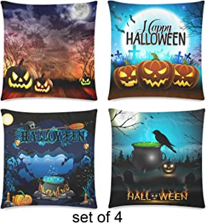 ArtSocket Set of 4 Throw Pillow Covers Pumpkin InterestPrint Custom Halloween Night Skull Ghost Twin Sides Decorative Pillow Cases Home Decor Square 18x18 inches Pillowcases