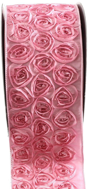 Kel-Toy Dimensional Rose Ribbon, 4-Inch by 10-Yard, Pink