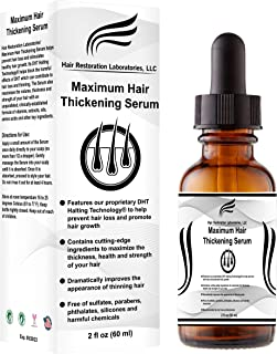 Hair Restoration Laboratories' Maximum Hair Thickening Serum. For Men & Women. Instantly Thickens Hair And Contains Powerful DHT Blocking Ingredients To Prevent Hair Loss And Regrow Hair.