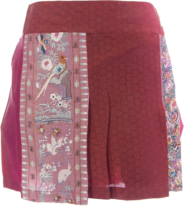 Custo Barcelona Women's Cupine Stork Maroon Mini Skirt 493636