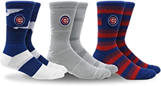 PKWY by Stance MLB Men's Clubhouse Collection 3-Pack Socks (Large, Chicago Cubs)