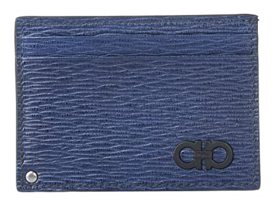 Salvatore Ferragamo Revival Gancio Card Holder (Fjord Blue/Wine) Coin Purse