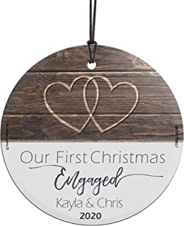 """Best Our First Christmas Engaged Glass Ornament – Personalized Rustic Double Hearts Farmhouse – Suncatcher Hanging Print Christmas Tree Date Display 3.5"""" Circle 