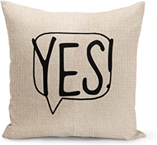 Speech bubble Yes Beige Linen Pillow with Black Foil Print Typo Couch Pillows