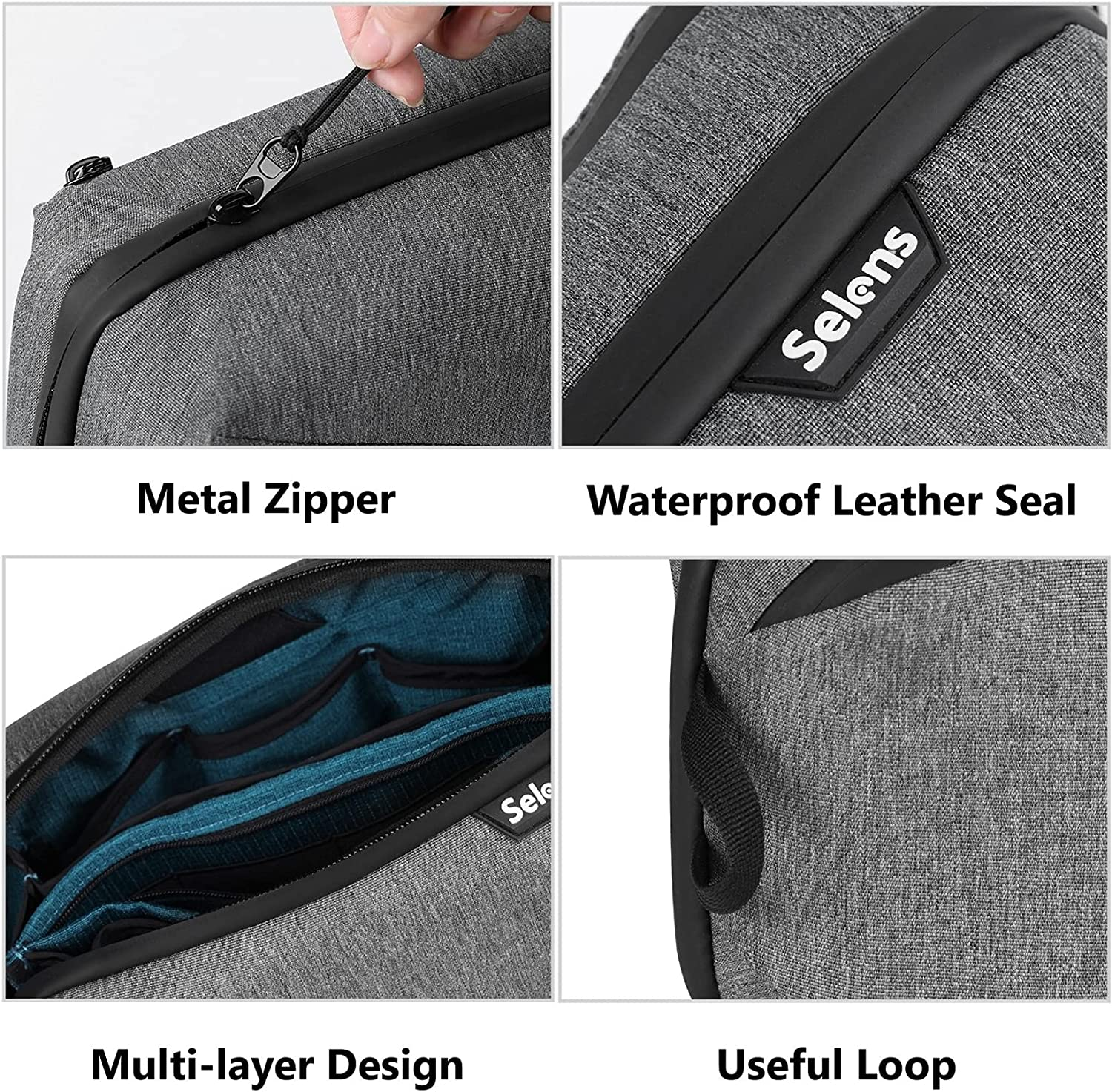 Selens Electronics Organizer Pouch Travel Case Waterproof Electronics Storage Bag Gadgets Accessories Bag Cable Organizer for Card Cable Cord Charger USB Flash Hard Drives or Small Photography Gadgets