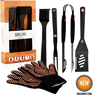 Yukon Glory Heavy Duty 5 Piece Grilling Tools Set, Durable Stainless Steel BBQ Accessories, Long Handle 3 in 1 Spatula, Tongs, Brush, Grill Fork, Thick Grilling Gloves, Gift Set