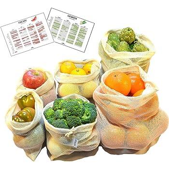 Bolsas Reutilizables de Algodón para Fruta y Verdura | Set de 6 ...