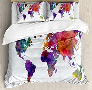 Ambesonne Watercolor Duvet Cover Set, Multicolored Hand Drawn World Map Asia Europe Africa America Geography Print, Decorative 3 Piece Bedding Set with 2 Pillow Shams, Queen Size, Gray Purple