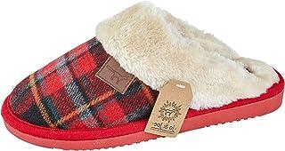 f34e4057cfa51 Femmes Wicklow Tartan Bord Fausse Fourrure Feuillet Sur Les Chaussons Mule  Chaussures Pointure 3-8