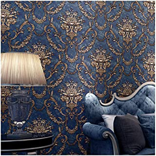 Blooming Wall Vintage French Damasks High Standard Textured Wallpaper Wall Paper for Livingroom Kitchen Bedroom,20.8 In32.8 Ft=57 Sq.ft (Blue Damasks1)