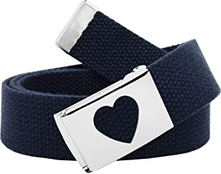 Girl's School Uniform Silver Flip Top Heart Belt Buckle with Canvas Web Belt