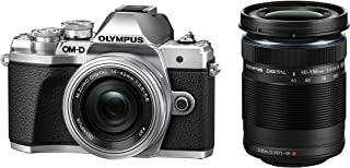 Olympus OM-D E-M10 Mark III Kit Micro Four Thirds System Camera (16 MP 5-Axis Image Stabilisation Electronic Viewfinder) + M.Zuiko 14-42mm EZ Zoom Lens + M.Zuiko 40-150mm Tele Zoom Silver/Black