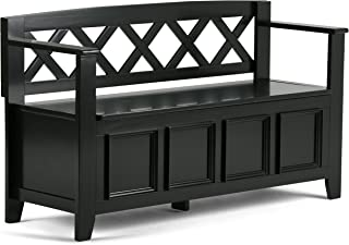 Simpli Home AXCAB-BNCH-B Amherst Solid Wood 48 inch Wide Transitional Entryway Storage Bench in Black