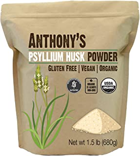 Anthony's Organic Psyllium Husk Powder, 1.5 lb, Gluten Free, Non GMO, Finely Ground, Keto Friendly