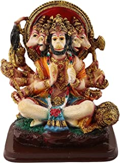 VintFlea 'Handmade God Panchamukhi Hanuman Statue' Devotee of Lord Rama Altar, Bajrang Bali, Indian Religious Figurine, by Resin Marble Work Idol Sculpture, for Home Showpiece - 10.5 x 13.5 x 8 cms