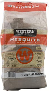 Western Premium BBQ Kiln Dried Mesquite Seasoned Mini Wood Logs with Robust Flavor for Smokers or Grills, 1.5 Cubic Feet