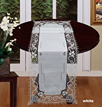 Creative Linens Handmade Reticella Lace Needle Lace Table Runner 14x50 White, Hand Embroidery