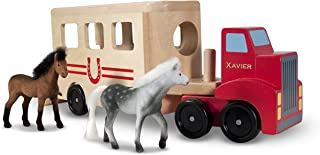 Melissa & Doug Personalized Horse Carrier Wooden Vehicle Play Set with 2 Flocked Horses & Pull Down Ramp Toy