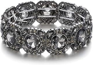 Flyonce Wedding Bridal Stretch Bracelet Austrain Crystal Adjustable Elastic Bracelet for Women