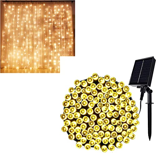 popular Twinkle new arrival Star 300 LED Curtain Lights | 300 LED high quality Solar String Lights, Warm White online