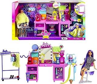 Barbie GYJ70 - Extra zestaw zabawowy z ekskluzywną lalką, szczeniaczkiem i 45+ elementów, wiek 3+