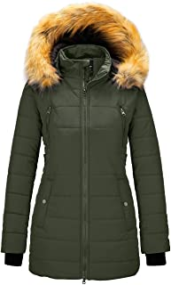 Wantdo Women`s Warm Winter Coat Thicken Puffer Coats with Removable Fur Hood