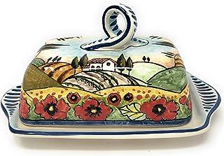CERAMICHE D'ARTE PARRINI- Ceramica italiana artistica, burriera decorazione paesaggio papaveri, dipinto a mano, made in IT...