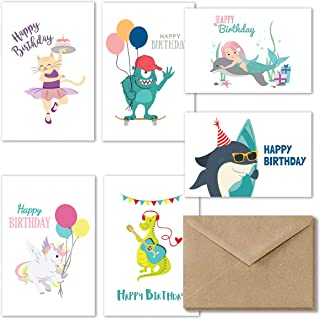 Kids Happy Birthday Cards Assortment, 36 Fun Birthday Cards for Kids, Girl Unicorn Birthday Card, Boys Birthday Card Variety Pack, Greeting Cards Assortment for Kids, Envelopes Included - 4x6 Inches