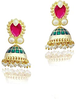 Traditional Indian Golden Minakari Jhumka Earrings With Stones And Pearls for Women