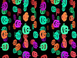 Midnight Glo Halloween Party Supply 78ft Neon Pumpkin Garland Hanging Decorations for Halloween Decorations Black Light Reactive UV Glow Party (6 Pack)