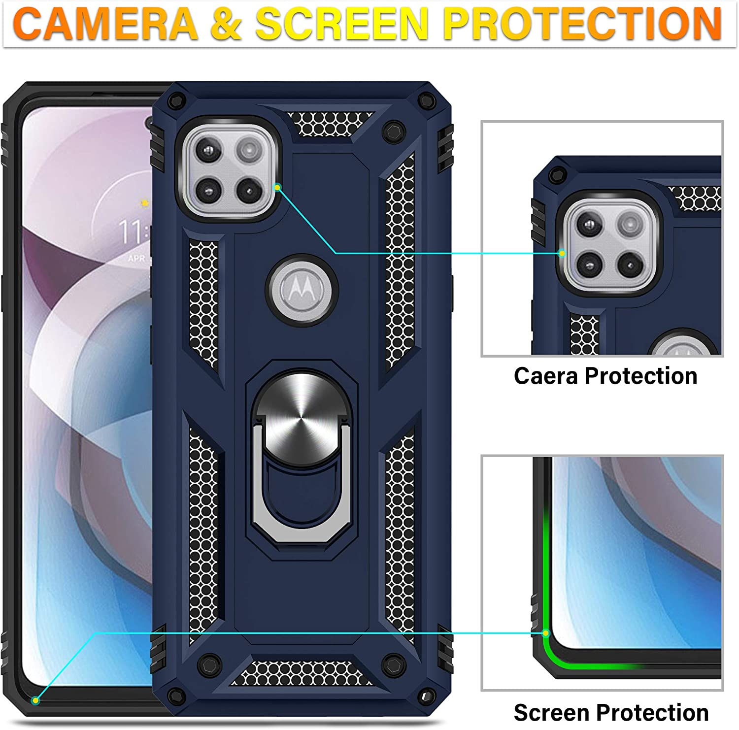 Starhemei for Moto One 5G Ace Case with Tempered Glass Screen Protector, Moto G 5G Case, with 360°Rotating Kickstand Shock-Absorbing Double Layer Phone Case for Motorola Moto One 5G Ace 2021 (Navy)