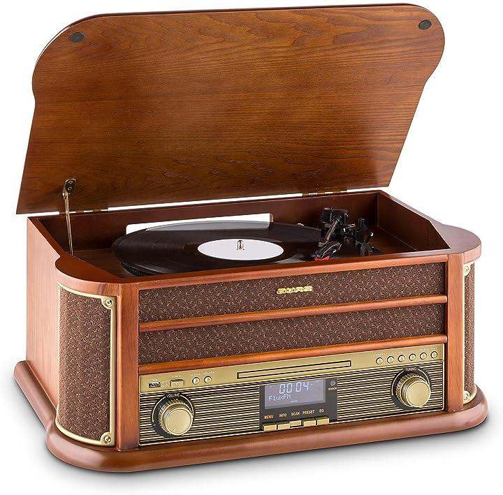 Giradischi,stereo,radio digitale, dab+, design retrò,lettore di vinili,fm, bluetooth,lettore cd, mp3, cassetta 4260489827246