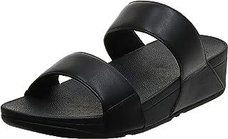 FitFlop Lulu Leather Slides - All Black womens Slides