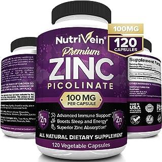Nutrivein Premium Zinc Picolinate 100mg - 120 Capsules - Immunity Defense Boosts Immune System & Cellular R...