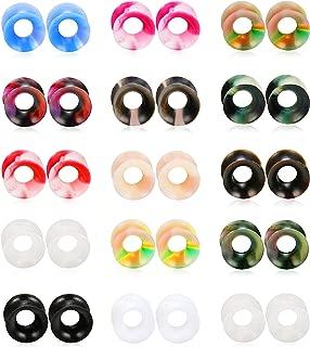 30PCS Ear Gauges Stretching Kit Thin Soft Silicone Plugs Ear Skin Flexible Flesh Tunnel Expander Gauge 0G 00G 1/2