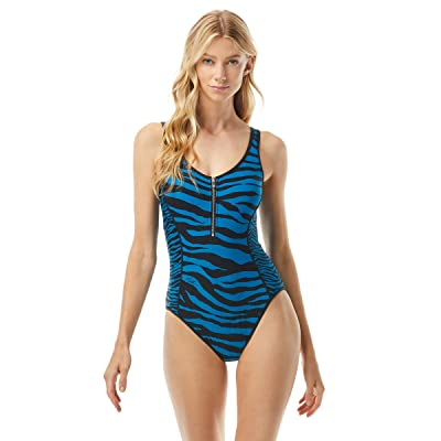 MICHAEL Michael Kors Zebra Logo Zip Front One-Piece with Removable Soft Cups (Oasis) Women