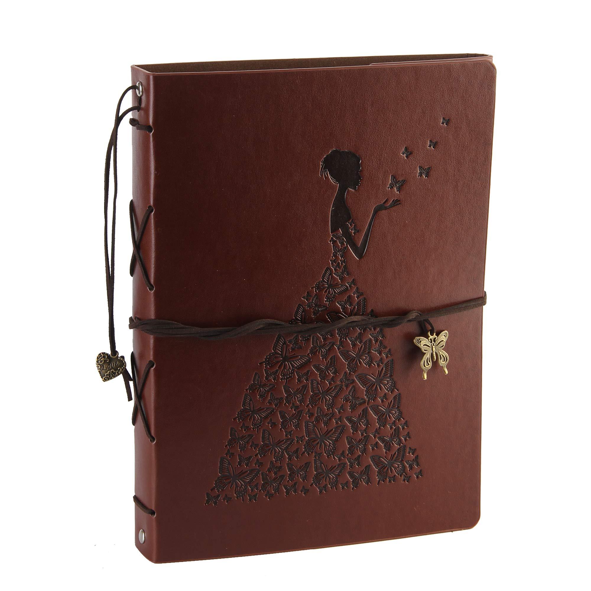 Photo Album Scrapbook Vintage Leather Cover 60 Pages Premium Black Paper Memory