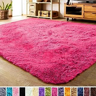 LOCHAS Luxury Velvet Living Room Carpet Bedroom Rugs, Fluffy, Super Soft Cozy, Bright Color, High Pile, Floor Area Rugs for Girls Room, Kids, Nursery and Baby (5.3x7.5 Feet, Hot Pink)