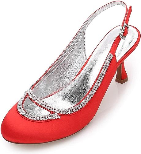Elegant high chaussures Femmes de Mariage F17061-29 Closed Toe Chunky Strass Pompes Satin Soir Chaussures de Mariage Personnalisé