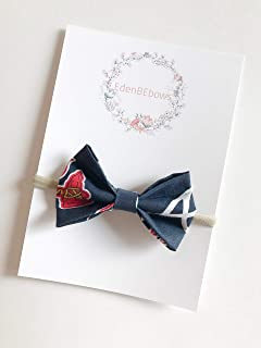 Atlanta Brave Braves newborn baby toddler girl nylon headband bow - great for newborns toddlers - extra soft nylons - Made in USA