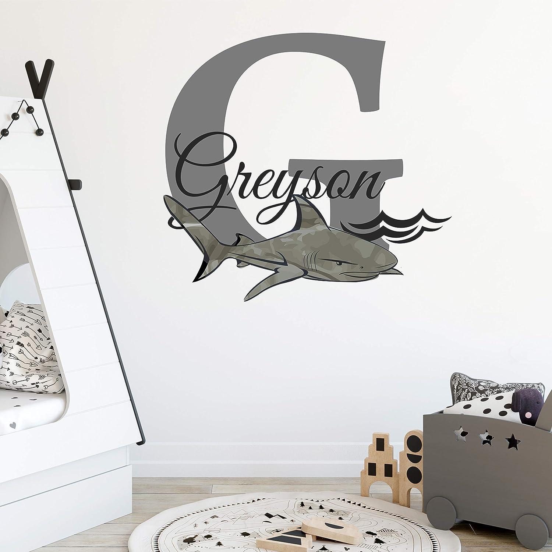 Large Custom Boy Wall Decal Boy Bedroom Decor Initial /& Name Decal Set Shark