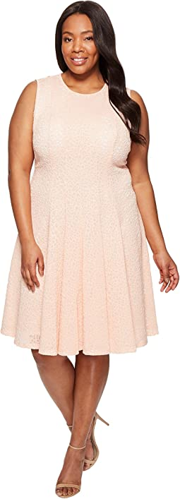 Plus Size Laser Cut Flare Dress