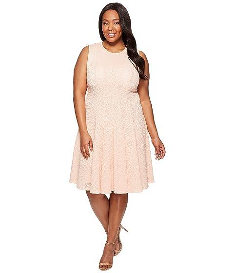 2e52887f0d7 Calvin Klein Plus Plus Size Laser Cut Flare Dress at 6pm