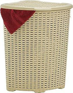 Superio Corner Laundry Hamper Basket With Lid 50 Liter, Beige Wicker Hamper - Durable, Lightweight Bin With Cutout Handles...