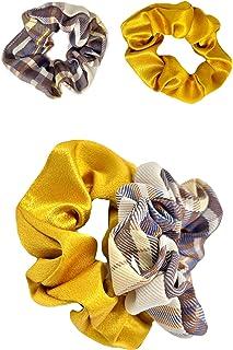 Willsea Fashion Satin Hair Scrunchies 2pcs Elastic Hair Tie Band Silk like Cotton Hair Accessories, Scrunchy Hair Bands fo...