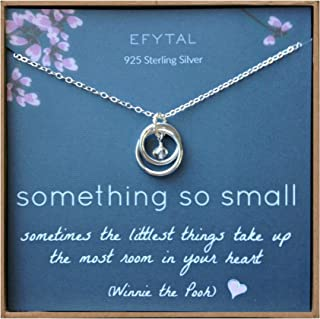 New Mom Gifts, Sterling Silver Necklace For Mother and Baby Girl/Boy, First Time Mom Mother's Day Jewelry Gift Ideas