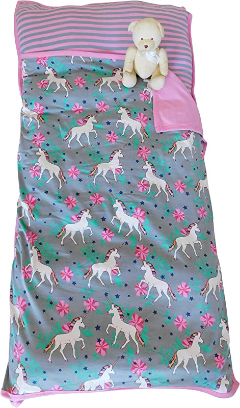 AnnLoren Little Girls Unicorn Printed Cozy Plush Toddler School Nap Time Mat