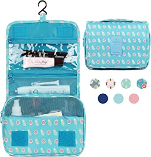 Hanging Travel Toiletry Bag Cosmetic Make up Organizer for Women and Girls Waterproof (Pineapple)