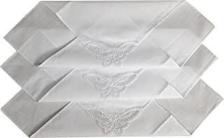 ETHO 12 Pack Womens Plain White Handkerchiefs, Butterfly Lace Corner