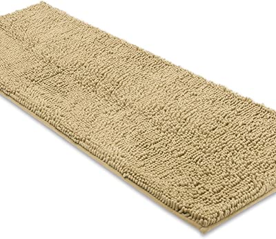 Amazon Com Super Cozy Plush Chenille Shaggy Bath Mat Gradient Beige Stripe Pattern Soft Microfiber Bath Rug Ultra Absorbent Non Slip Bathmat Machine Washable Rug For Tub Shower 20 32 Inch Beige Home